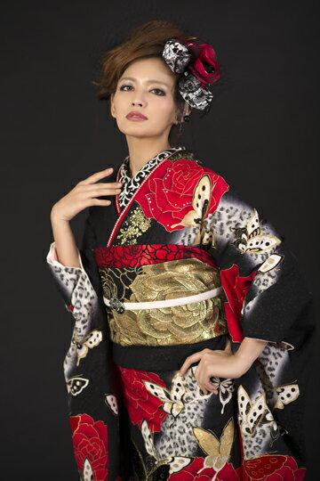 【黒・薔薇/蝶/豹柄】成人式シーズン外(2月~11月) 振袖レンタルset