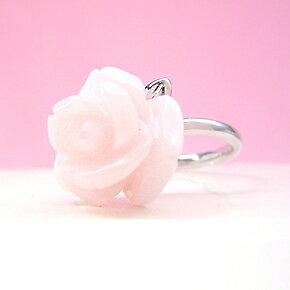 K18 ホワイトゴールド ピンクオパール リング レディース 指輪・アルランシェ バラ カラーストーン モチーフ 18K 18金 誕生日プレゼント 華奢 シンプル ファッションリング 可愛い ゆびわ ジュエリー
