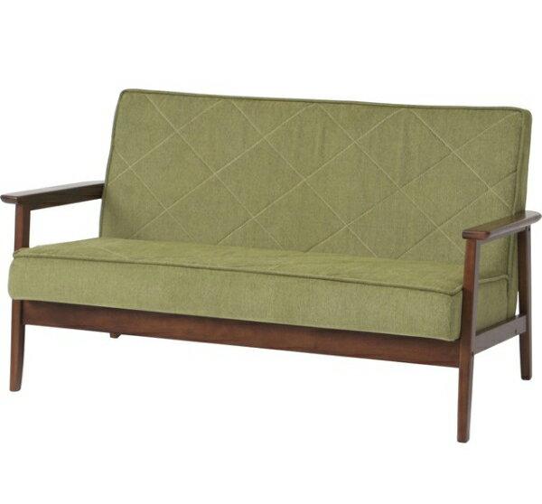 コンパクトサイズで、狭いお部屋にも最適の2人掛け ファブリックソファー 2P グリーン