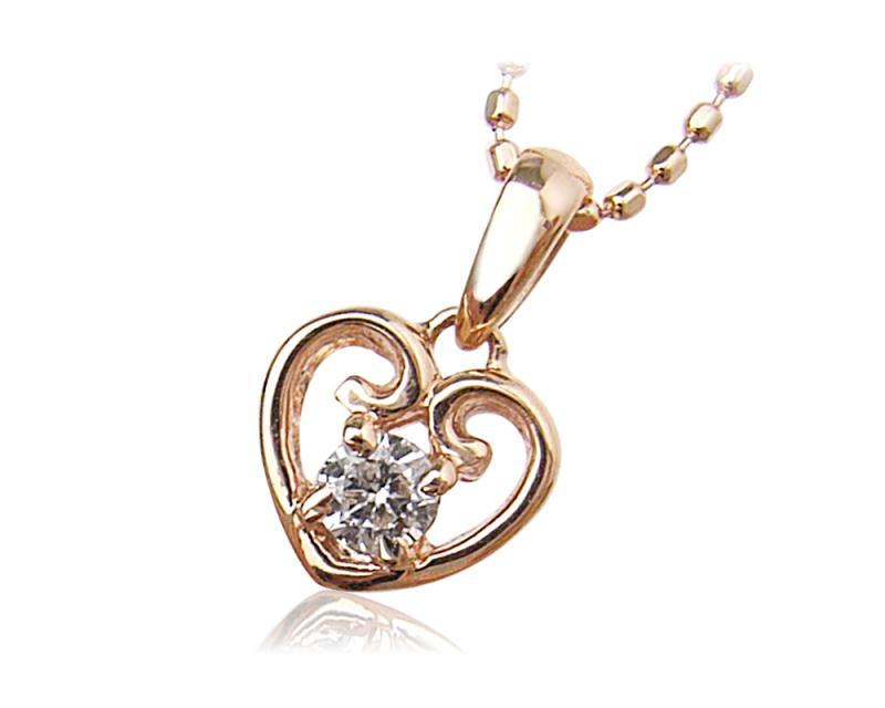K10PG 誕生石ハートネックレス(4月ダイヤモンド) 【ネックレス】【necklace】【首飾り】【ペンダント】【レディース】【Lady's 女性用】