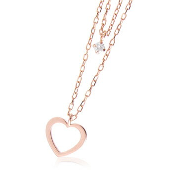 k10天然ダイヤモンド0.03ctハート2連ネックレス  【ネックレス】【necklace】【首飾り】【ペンダント】【レディース】【Lady's 女性用】【DIAMOND】