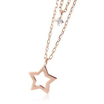 k10天然ダイヤモンド0.03ct星2連ネックレス 【ネックレス】【necklace】【首飾り】【ペンダント】【レディース】【Lady's 女性用】【DIAMOND】