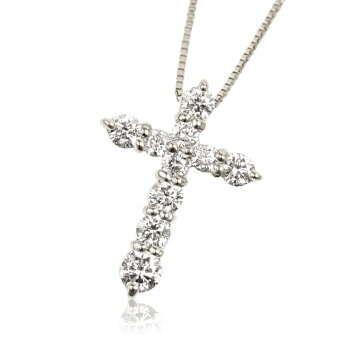 K18WG 0.5ctダイヤモンドクロスネックレス 【ネックレス】【necklace】【首飾り】【ペンダント】【レディース】【Lady's 女性用】【DIAMOND】