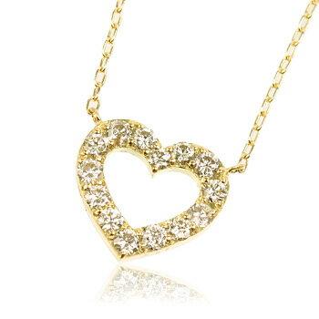 K18YG 0.5ctダイヤモンドオープンハートネックレス 【ネックレス】【necklace】【首飾り】【ペンダント】【レディース】【Lady's 女性用】【DIAMOND】