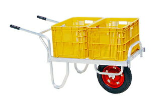 【運搬作業用品-収穫車・コンテナ車】ハラックス コン助 アルミ製平形1輪車20kgコンテナ用 CN-40DX エアータイヤ <大型・重量商品>