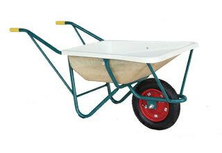 【運搬作業用品-一輪車】ハラックス スチール一輪車 FRP製浅型バケットタイプ F型 エアータイヤ <大型・重量商品>