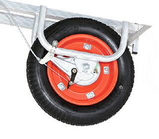 【運搬作業用品-一輪車】ハラックス ブレーキ付アルミ一輪車 プラバケット付 CFB-2 エアータイヤ <大型・重量商品>