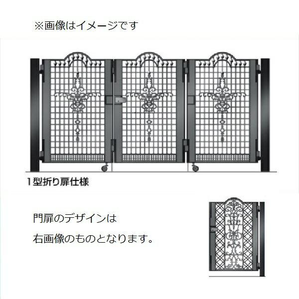 四国化成 ビビオ門扉 4型 柱仕様 3枚折り扉 0712 ブラックつや消し
