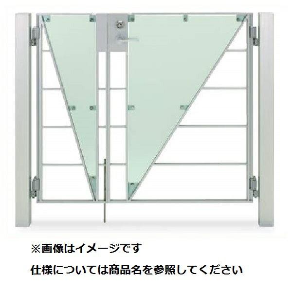 四国化成 マイ門扉 S2型 柱仕様 両開き 0710 ポリカタイプ シルバーつや消し/ガラス色マット調