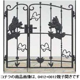 リクシル 新日軽 ディズニー門扉 角門柱式 プーさんA型 0410+0810 親子開き 『リクシル』 ブラック