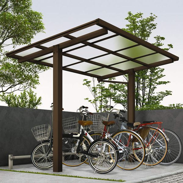 YKK ap エフルージュグラン ミニ ZERO 22-20 基本セット 標準高さ 熱線遮断ポリカ屋根 『自転車置場 サイクルポート 自転車屋根』 アルミ形材色