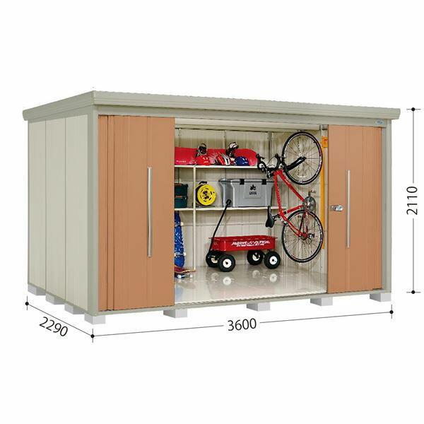 10月31日までのプレゼント企画 タクボ物置 ストックマン ND-3622Y 側面棚タイプ 一般型 標準型 +床保護マット 1セット付き 『追加金額で工事も可能 屋外用中型・大型物置』 トロピカルオレンジ