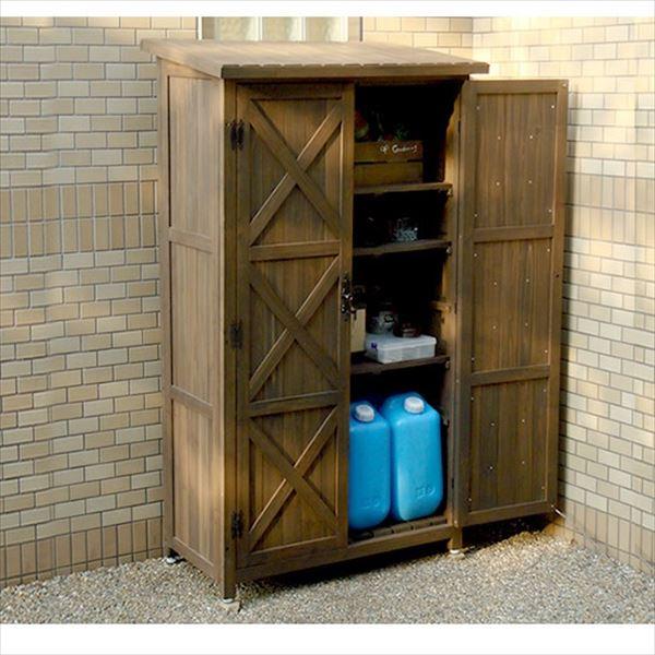 Sスタイル 木製収納庫 オールドカントリー調ストッカー160 WSOC-1600DB 『小型 物置小屋 屋外 DIY向け』 ダークブラウン