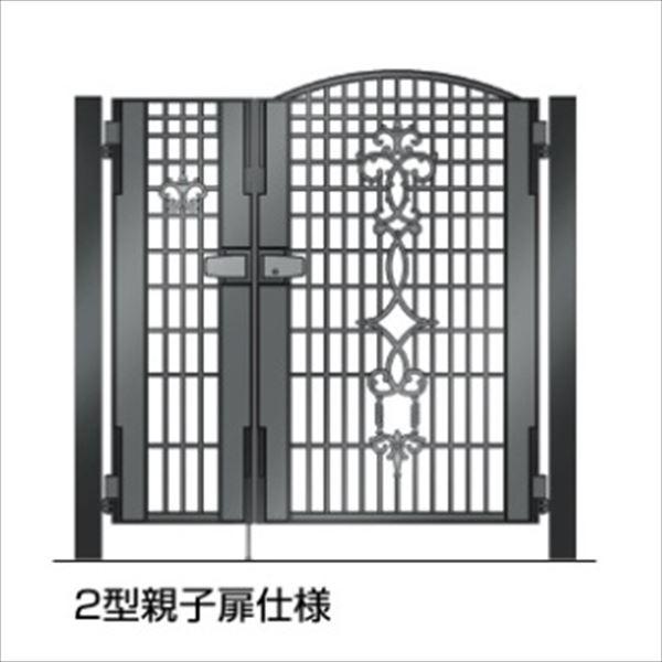 四国化成 ビビオ門扉 2型 柱仕様 親子開き 0412+0812 ブラックつや消し
