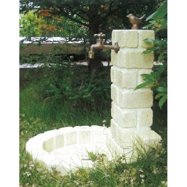 ニッコー 不凍水栓ユニット サナンド  立面:サークルタイプ パン:丸型(PA) D-JX-PA-100 OW   【水栓柱・立水栓セット 蛇口 水受け付き 3点セット】 オフホワイト