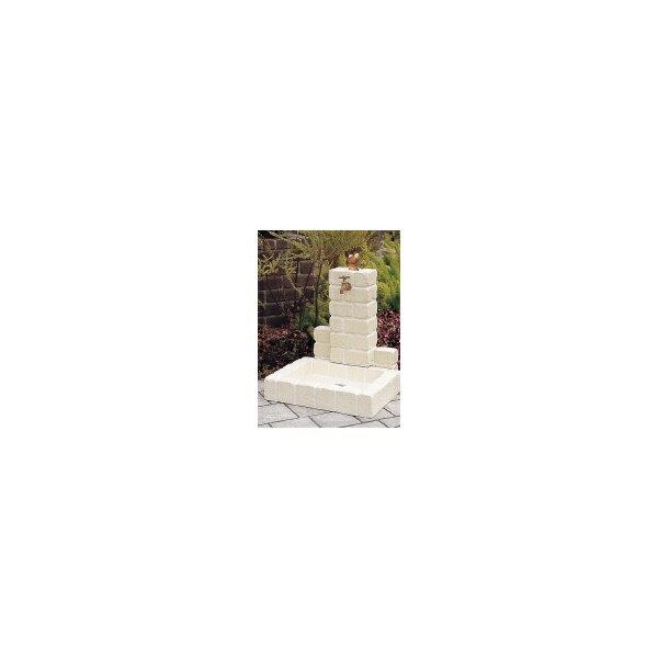 ニッコー 不凍水栓ユニット サナンド  立面:サークルタイプ パン:角型(PB) D-JX-PB-080 OW   【水栓柱・立水栓セット 蛇口 水受け付き 3点セット】 オフホワイト