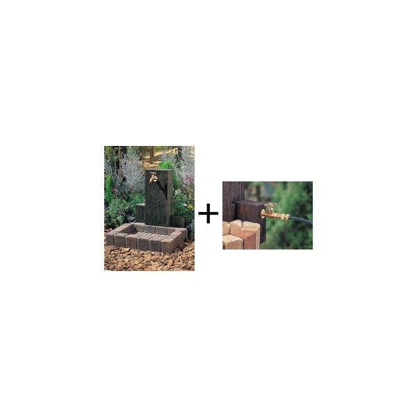 ニッコー 立水栓ユニット ウッドクリートタイプ 補助蛇口仕様(補助蛇口は別売です) パン:角型 【水栓柱・立水栓セット 水受け付き(蛇口は別売)】 トランスブラウン