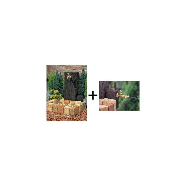 ニッコー 立水栓ユニット ウッドクリートタイプ 補助蛇口仕様(補助蛇口は別売です) パン:角型 【水栓柱・立水栓セット 水受け付き(蛇口は別売)】 ミックス