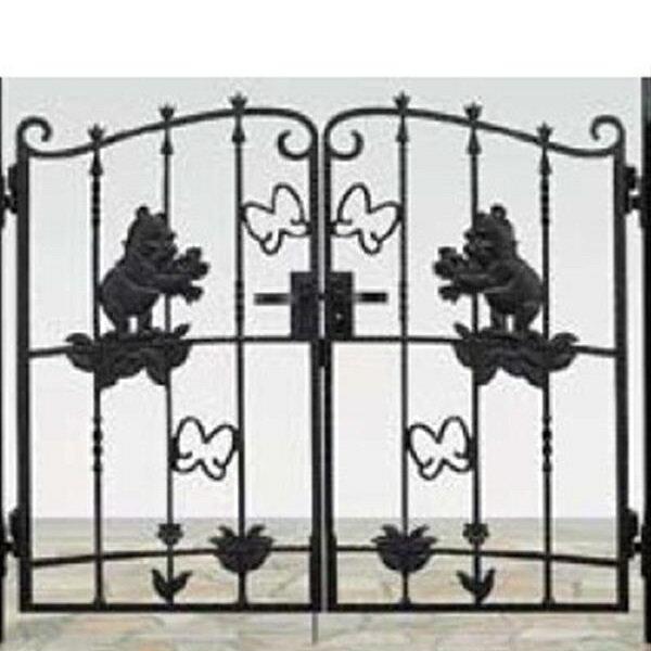 リクシル 新日軽 ディズニー門扉 角門柱式 プーさんA型 0712 両開き 『リクシル』 ブラック