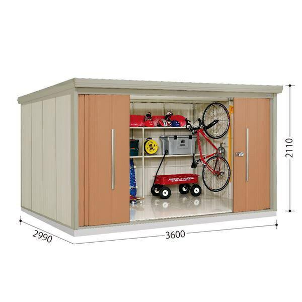 大好き 10月31日までのプレゼント企画 タクボ物置 ストックマン ND-Z3629Y 側面棚タイプ 一般型 結露軽減型 +床保護マット 1セット付き トロピカルオレンジ
