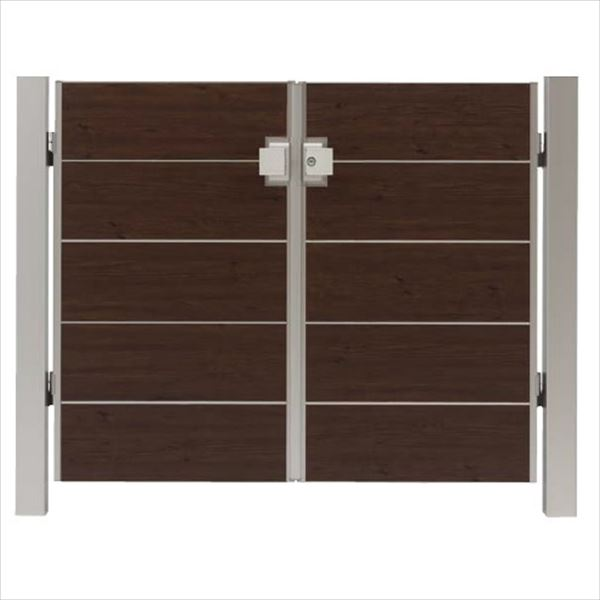 タカショー エバーアートウッド門扉 シンプルスタイル 柱仕様 W700×H1200 両開き プッシュプル錠