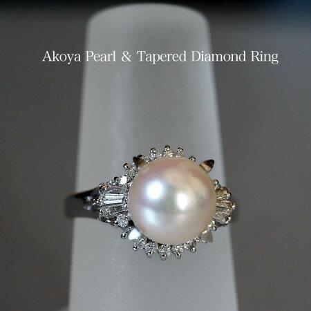 Pt900 アコヤ本真珠 準花珠 テーパーダイヤモンド リング /パール/あこや/リング/プラチナ/ダイヤ/レディース