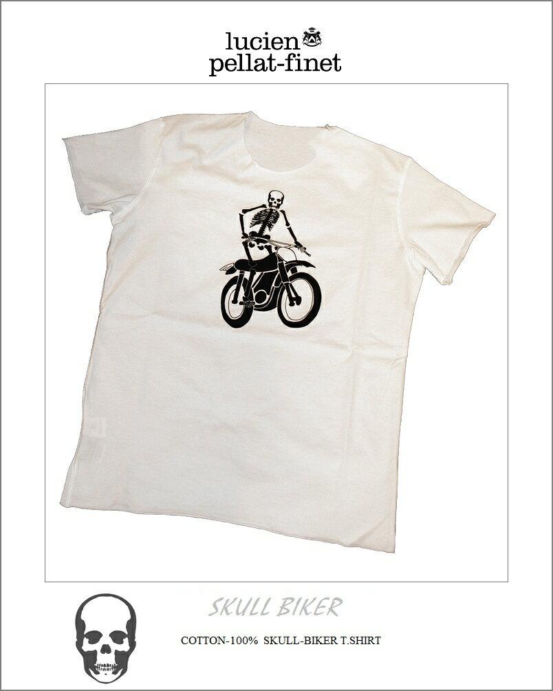 繝ォ繧キ繧「繝ウ縺コ繝ゥ繝輔ぅ繝� 繧ケ繧ォ繝ォ 繧ケ繧ア繝ォ繝医Φ 繝舌う繧ォ繝シ 繝励Μ繝ウ繝� T繧キ繝」繝�lucien pellat-finet Skeleton Biker Tshirt