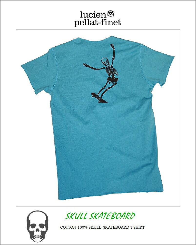 繝ォ繧キ繧「繝ウ縺コ繝ゥ繝輔ぅ繝� 繧ケ繧ォ繝ォ 繧ケ繧ア繝ォ繝医Φ 繧ケ繧ア繝シ繝医�懊�シ繝� 繝励Μ繝ウ繝� V繝阪ャ繧ッ T繧キ繝」繝�lucien pellat-finet Skeleton Skateboard V neck Tshirt blue