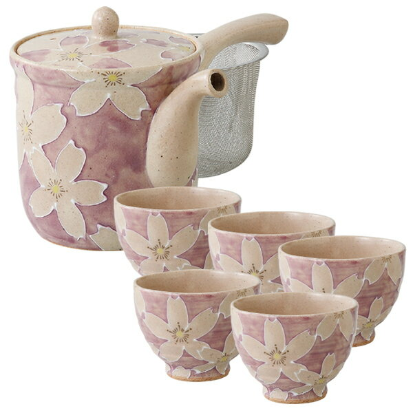 【大感謝祭】急須 セット 日本製 一珍染桜 MS立急須 大 1点+仙茶5客セット