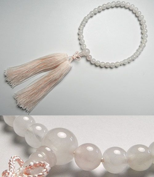 女性用のお数珠 ローズクォーツ 7mm玉 共仕立て 浄土真宗向け ピンク房