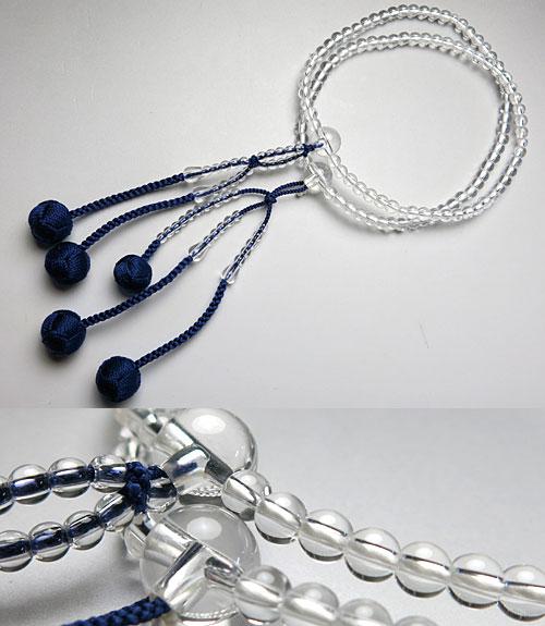 女性用のお数珠 水晶 共仕立て 日蓮宗 法華宗 二双法華 紫紺房【送料無料】【数珠】【念珠】【日蓮宗】