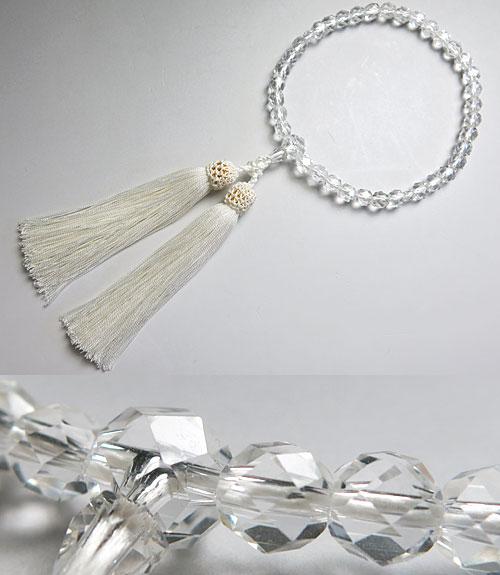 女性用のお数珠 水晶 手磨き切子 共仕立て 白房【送料無料】【数珠】【念珠】【水晶】