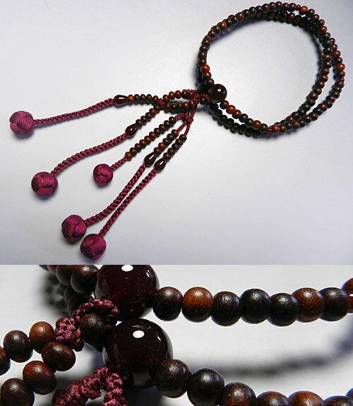 女性用のお数珠 紫檀 日蓮宗 瑪瑙仕立て 二双法華【送料無料】【数珠】【念珠】【日蓮宗】
