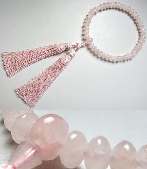 女性用のお数珠 ローズクォーツ スターシェイプカット 共仕立て ピンク房【数珠】【念珠】【送料無料】