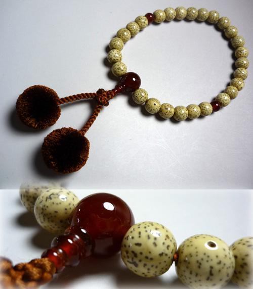 男性用のお数珠 星月菩提樹 27玉 瑪瑙仕立て 梵天房