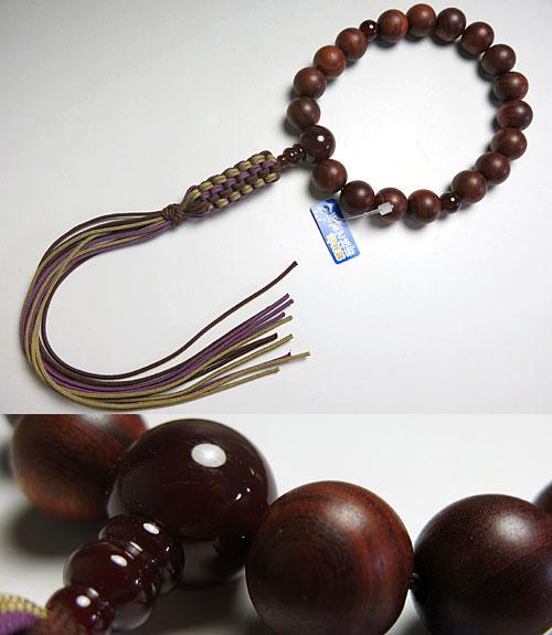 男性用のお数珠 紫檀 18玉 瑪瑙仕立て 紐房 浄土真宗用【送料無料】【数珠】【念珠】【浄土真宗】