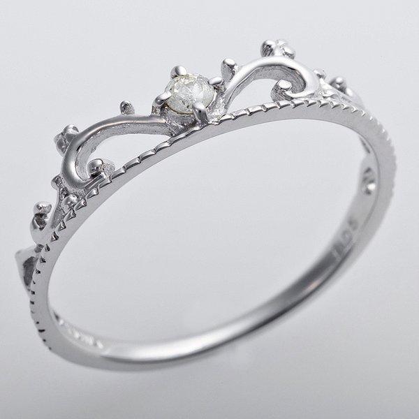 K10ホワイトゴールド 天然ダイヤリング 指輪 ダイヤ0.05ct 12.5号 アンティーク調 プリンセス ティアラモチーフ