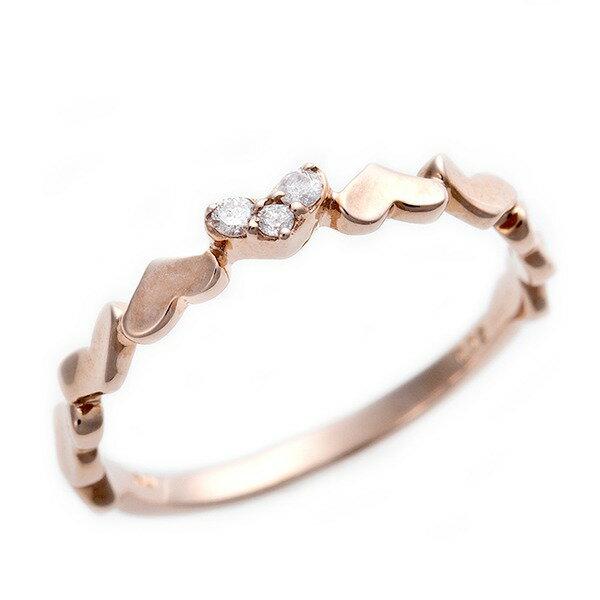 ダイヤモンド ピンキーリング K10 ピンクゴールド ダイヤ0.03ct ハートモチーフ 2号 指輪