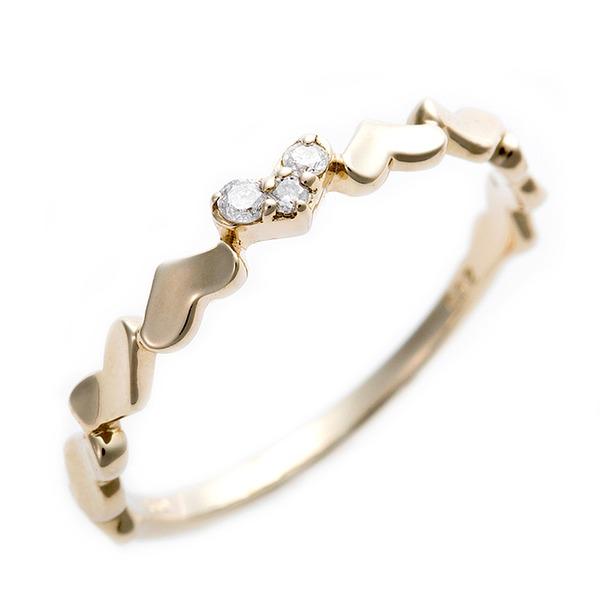 ダイヤモンド ピンキーリング K10 イエローゴールド ダイヤ0.03ct ハートモチーフ 3号 指輪