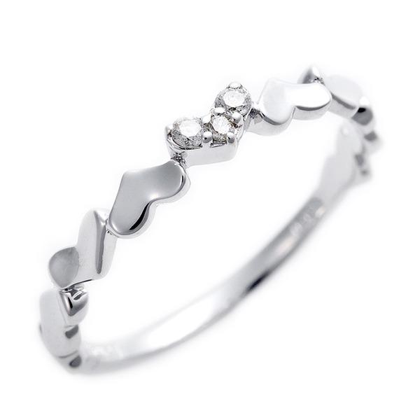 ダイヤモンド ピンキーリング K10 ホワイトゴールド ダイヤ0.03ct ハートモチーフ 1.5号 指輪