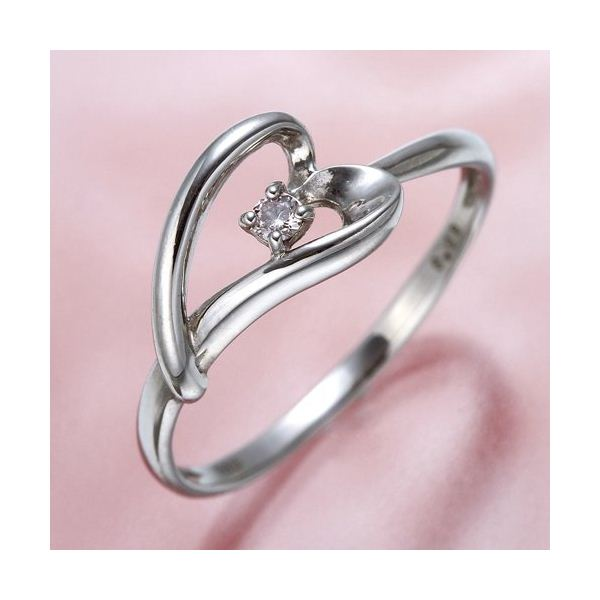 ピンクダイヤリング 指輪 ハーフハートリング 15号
