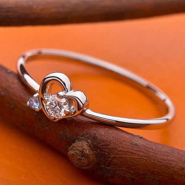 【鑑別書付】プラチナPT950 天然ダイヤリング 指輪 ダイヤ0.05ct アイスブルーダイヤ0.01ct 11.5号 ハートモチーフ