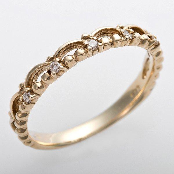 K10イエローゴールド 天然ダイヤリング 指輪 ピンキーリング ダイヤモンドリング 0.03ct 3号 アンティーク調 プリンセス ティアラモチーフ