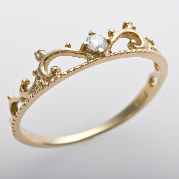 ダイヤモンド リング K10イエローゴールド ダイヤ0.05ct 11号 アンティーク調 プリンセス ティアラモチーフ