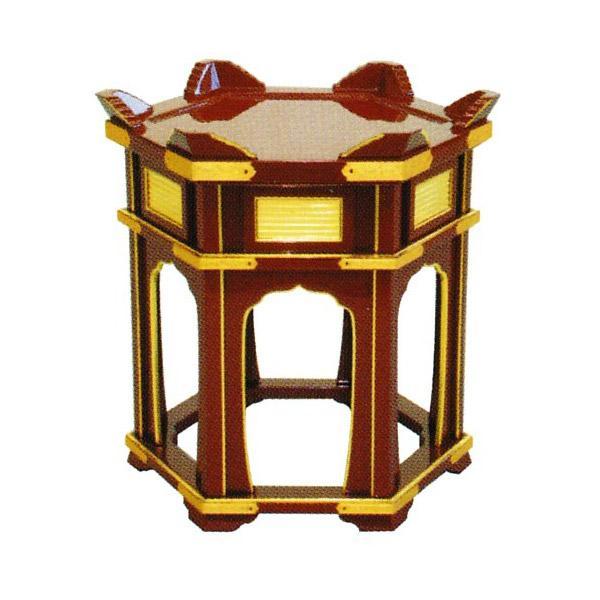【送料無料】鏧子台(立打用杢魚台)[朱塗面金箔押][金具付] 平径1尺5寸×高さ51cm