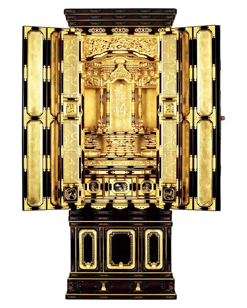 三河型台付『N型 尾州 段下 東 箔仕上 20号』[金仏壇][浄土真宗大谷派(東)][伝統型仏壇]【送料無料】
