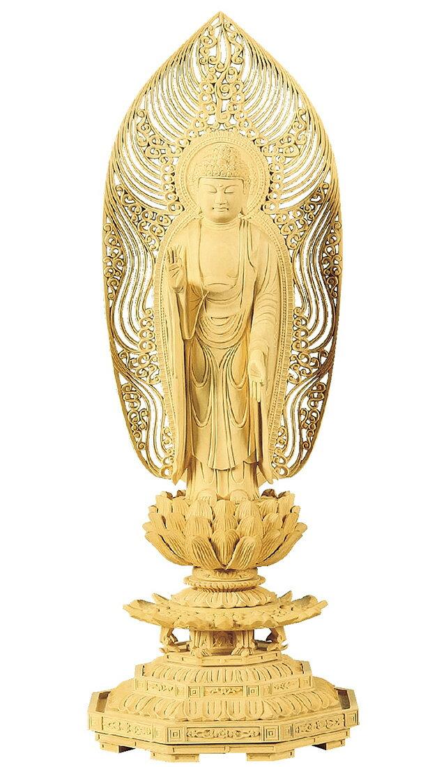 仏像『柘植 八角台座 舟立弥陀 水煙光背 3.0寸』[浄土宗][時宗]