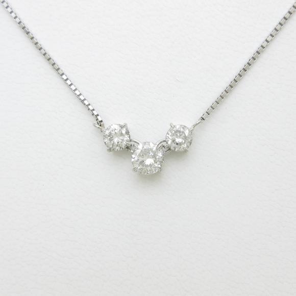 PT スリーストーン ダイヤモンドネックレス【中古】