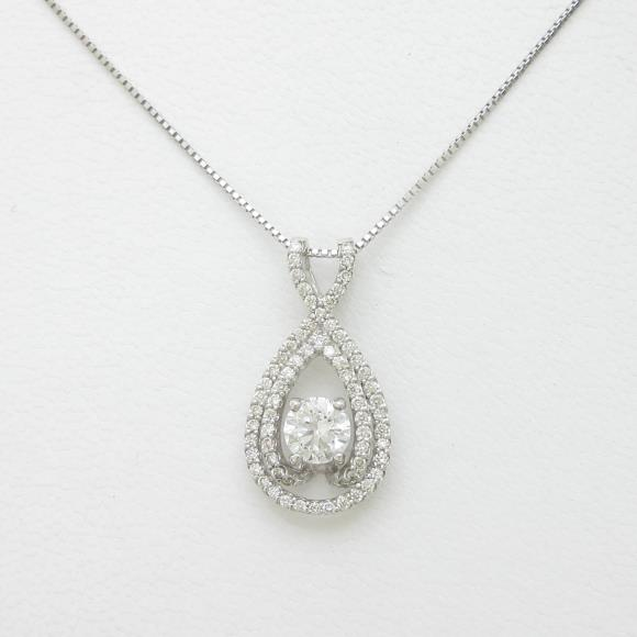 K18WG ダイヤモンドネックレス 0.528ct・F・SI2・EXCELLENT【中古】