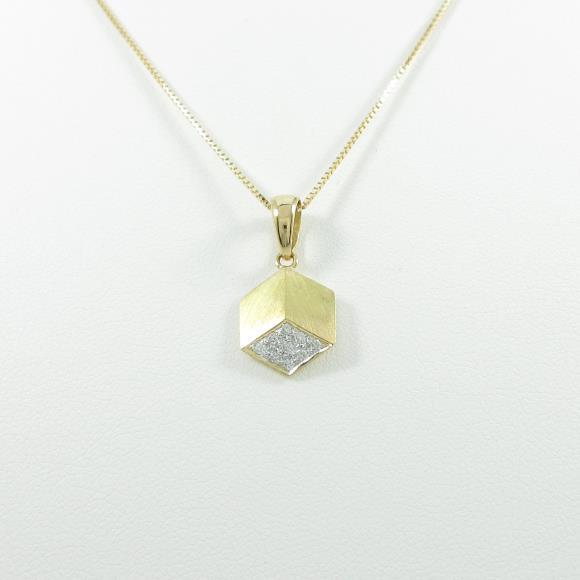 K18YG ダイヤモンドネックレス【中古】
